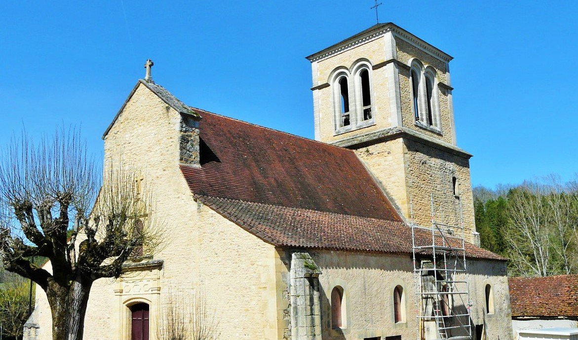 l'église Saint-Saturnin, Journiac, Dordogne, France.