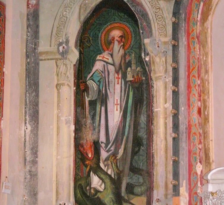 l'église Saint-Saturnin, Journiac, Dordogne, France.